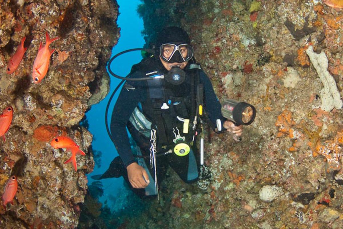 Underwater cave at Goa Tanjung Arus